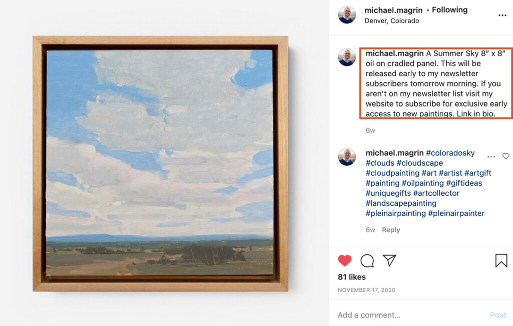 Michael Magrin builds his email list by promoting email on his Instagram posts.